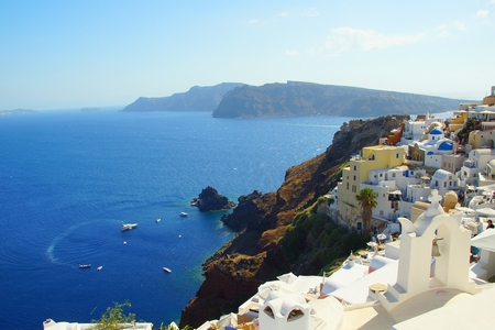 A summer day on the fairytale island of Santorini in Greece Stock Photo