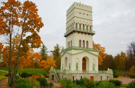 Autumn Evening and the White Tower in Aleksandrovsky Park in Tsarskoe Selo