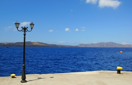 Quay in the Old Port in Fira on the island of Santorini in Greece