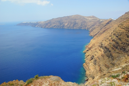 Sunny summer day on the fabulous island of Santorini in the Aegean Sea Stock Photo