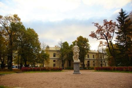 Walking in the autumn evening in Pavlovsky Park in Pavlovsk, St. Petersburg