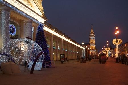 Winter morning at the Gostiny Dvor on Nevsky Prospekt in St. Petersburg