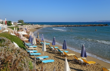Sunny morning and beach in Kokkini Hani in Crete
