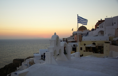 Evening in the city of Oia on the island of Santorini in Greece Stock Photo