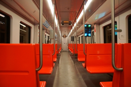 Interior of the subway car in Helsinki, Finland
