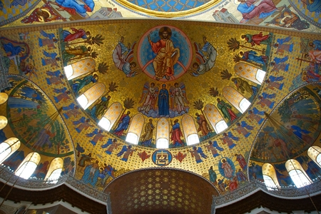 Fragment of the interior of the St. Nicholas Cathedral in Kronstadt