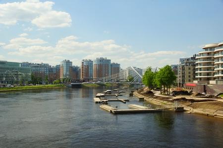 View of Lazarevsky Bridge and Malaya Nevka in St. Petersburg, May evening