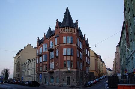 Beautiful corner house in Art Nouveau style in Helsinki