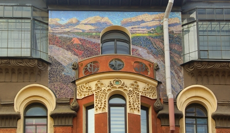 Fragment of the facade of an apartment house in the Art Nouveau style on Bolshaya Zelenina Street in St. Petersburg