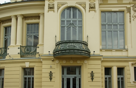 Balcony in the Art Nouveau style of the Vitebsk railway station in St. Petersburg