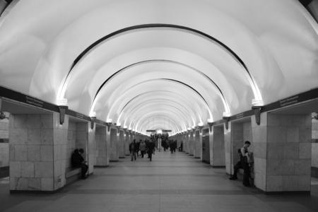 Interior of the metro station Prospekt Prosveshcheniya in St. Petersburg