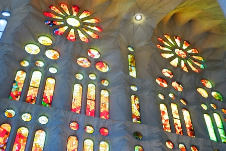 Fragment of the interior of the Sagrada Familia in Barcelona