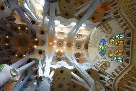 Fragment of the interior of the Sagrada Familia in Barcelona