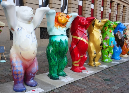 The United Buddy Bears exhibition on display on the Dome Square in Riga, Bears from Morocco, Mexico, Montenegro, Myanmar, Moldavia, Mongolia