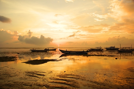 Early southern morning and sunrise on the ocean, sunrise in Bali