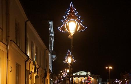 Festive Christmas decoration on a lantern in the Old Town in Vilnius Reklamní fotografie