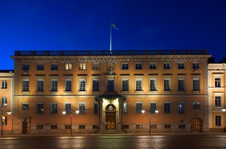 Walk through the evening Helsinki, the building of the Embassy of Sweden
