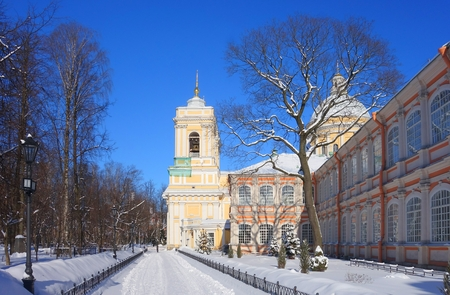 Frosty sunny morning in the Alexander Nevsky Monastery in St. Petersburg