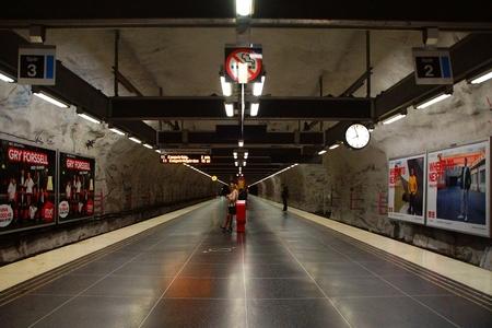 Hallonbergen Station of the Subway in Stockholm, Sweden