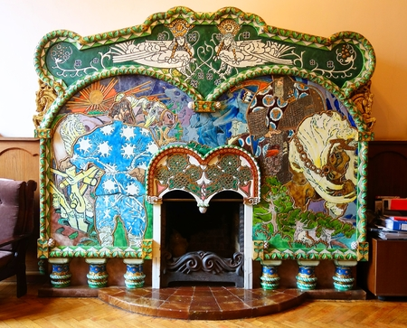 Fireplace Volga and Mikula in the style of Russian Art Nouveau by Mikhail Vrubel in the childrens library in St. Petersburg