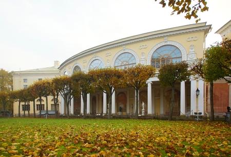 Sad autumn morning in Pavlovsk park in Pavlovsk, St. Petersburg