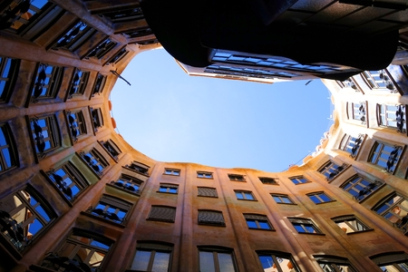 The sky over the courtyard of Casa Mila in Barcelona