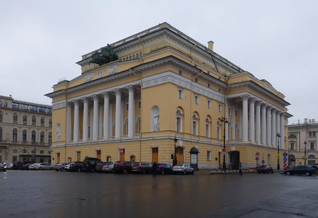 The building of the Alexandrinsky Theater on Ostrovsky Square in St. Petersburg