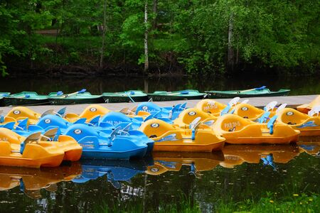 Parking plastic pleasure boats on Krestovsky Island in St. Petersburg