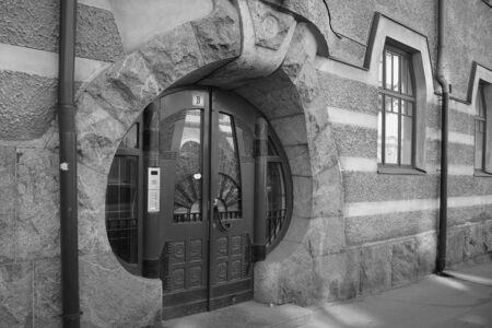 House Juniper in Art Nouveau style on the island Kataynokka in Helsinki, the front door