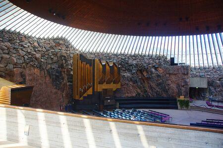 Fragment of the interior and interior space of Temppeliaukio church
