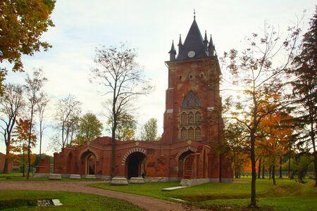 Sunny October morning and a walk in Alexander Park in Tsarskoye Selo, Chapelle Pavilion