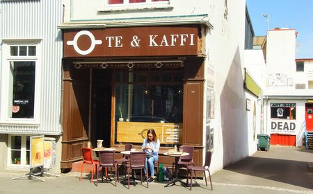 Summer sunny day and walk through the main streets of the historic part of Reykjavik 스톡 콘텐츠
