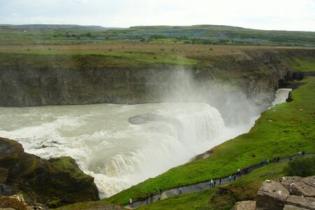 Summer day in the south of the country and the Gudlfoss waterfall is the attraction of the Golden Ring of Iceland