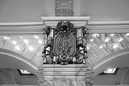 Fragment of the interior of the Kirovskiy zavod metro station in St. Petersburg