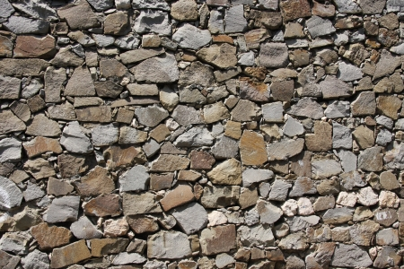 The wall of rubble stone hewn and laid without mortar