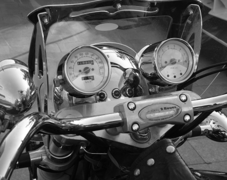 Motobike front view of a speedometer Stock Photo