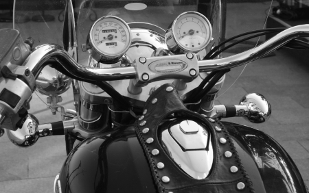 Motobike front view of a speedometer photo