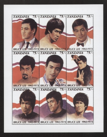 chinese postage stamp: Bruce Lee  Tanzania Postage Stamps, panel of 9 stamps