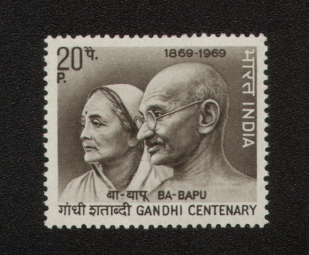 INDIA - CIRCA 1969  A stamp printed in India show Mahatma Gandhi and his wife Kasturba, series, circa 1969