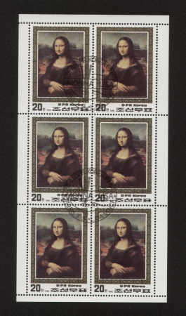 a stamp printed by KOREA  Shows Leonardo Da Vinci