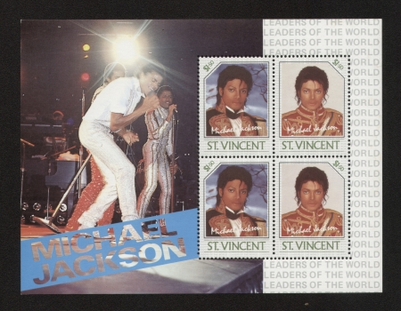 michael jackson: Old maximum card and stamp in honor of American pop singer Michael Jackson with inscription
