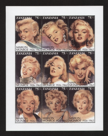 marilyn: Marilyn Monroe Tanzania Postage Stamps, panel of 9 stamps
