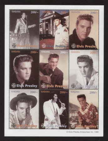 ELVIS PRESLEY - SET OF 9 STAMPS - 1996 TANZANIA