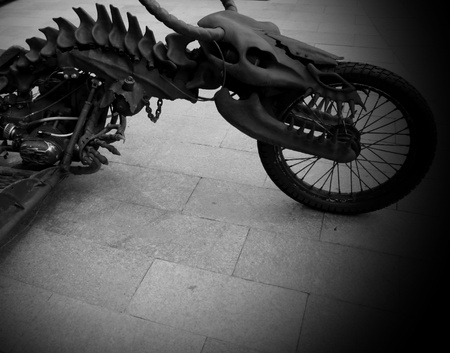 Motorcycle made   in the form of a dinosaur  a model