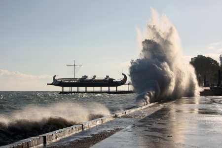 Storm surges were recorded on the seafront of Yalta  Krym  , Ukraine  Stock Photo