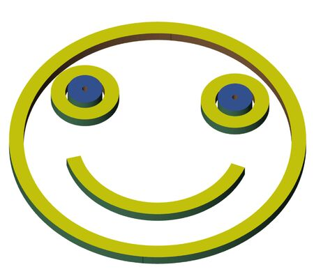 smiley face drawn in 3D and lies on a white background