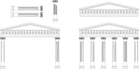 roman column: Antique Temple Facade Illustration of classical Greek or Roman Ionic column