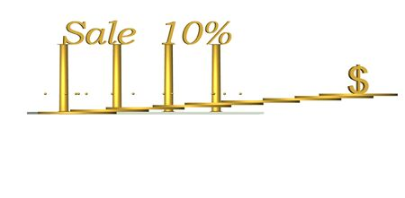 3D  Gold text sale 10    dollar on white background