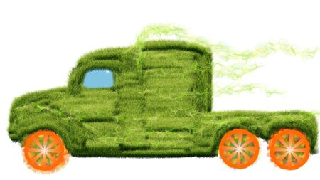 Environmentally friendly vehicle from the grass on the future of fantasy