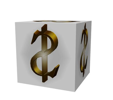 Golden extruded text on a white background on the cube dollar photo